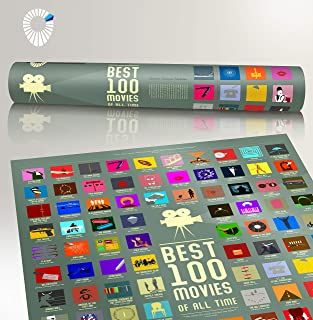 """100 Movie Scratch Off Poster Top Films of All Time Bucket List by Travel Revealer Scratch Off Movie Poster. 17""""x24"""" Minimalist Modern Silver Screen Movie Poster Design by British Artist."""