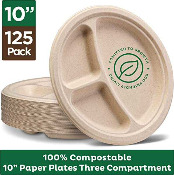 100 Compostable Paper Plates 10 Inch 125 Pack 3 Compartment Disposable Plates Heavy Duty Quality Natural Bagasse Eco Friendly Made Of Sugar Cane Wheat Straw Fibers 10 Biodegradable Plates