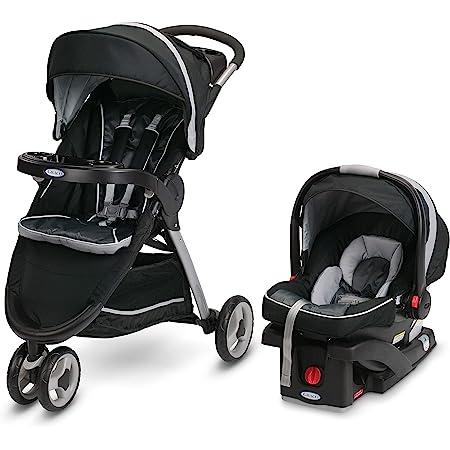 Graco FastAction Fold Sport Travel System | Includes the FastAction Fold Sport 3-Wheel Stroller and SnugRide 35 Infant Car Seat, Gotham