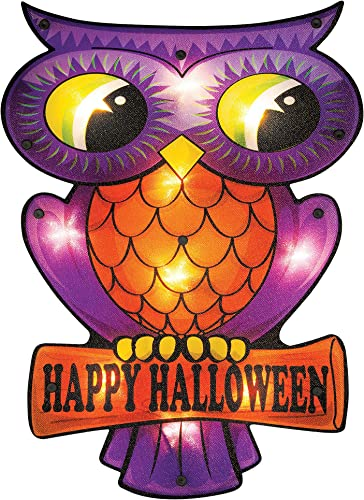 popular Twinkle Star sale 16 x 12 Inch Halloween Decorations Lighted Vintage Owl Window Silhouette Decoration, 10 LED High-Voltage Light Up Decor, wholesale Holiday Party Home Yard Art, Indoor Outdoor Ornament online