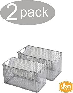 YBM HOME Household Wire Mesh Open Bin Shelf Storage Basket Organizer for Kitchen, Cabinet, Fruits, Vegetables, Pantry Items Toys 1134s-2 (2, 10.75 x 5.5 x 6.5)