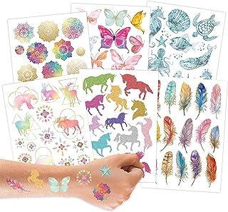 100 metalicznych tatuaży do naklejenia - przyjazne dla skóry tatuaże dziecięce mandala - fajne wzory - jako prezent urodzi...