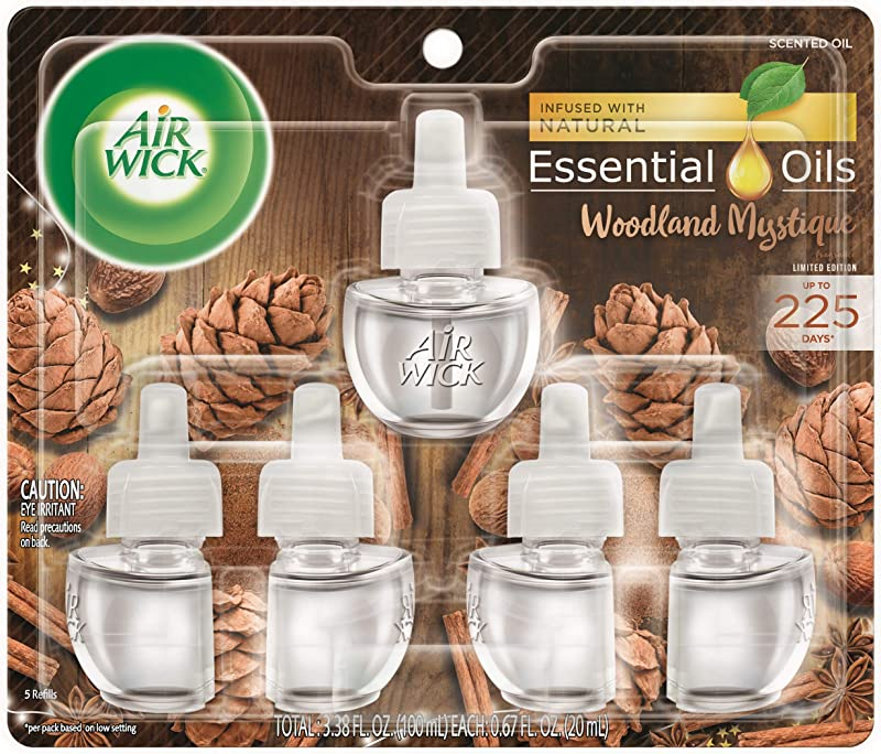 Air Wick Plug In Scented Oil 5 Refills Woodland Mystique 5x0 67oz Essential Oils Fall Decor Air Freshener