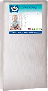 """Sealy Baby Select 2-Cool 2-Stage Dual Firmness Lightweight Waterproof Standard Toddler & Baby Crib Mattress, Soybean Foam-Core, 51.63"""" x 27.25"""""""