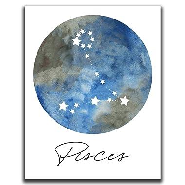 Pisces Zodiac Astrological Sign Constellation Moon Wall Art - 14x11  UNFRAMED Print - Star Sign Print, Astrology Wall Decor - Pisces Gifts