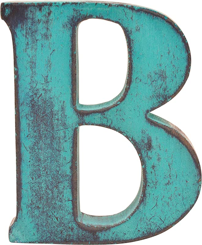Shabby Chic Vintage Large 11 Cm Wooden Letters Hand Finished Alphabets Free Standing Or Wall Mounted D Cor For Weddings Baby Names Signs Unique Personalised Gift Teal Letter B