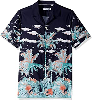 Lacoste Men's S/S All Over Print Linen Casual Hawaii Collar Reg Fit Woven