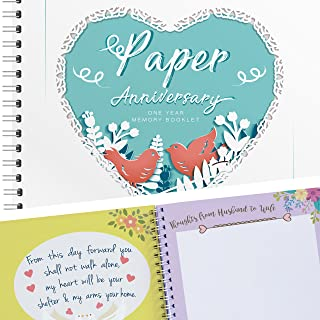 Unique Paper Wedding Anniversary Memory Book with Stickers and A Matching Card - Perfect Memory Journal For Your First Anniversary - Perfect for Keepsake Couple Memories - Special Gifts for Him & Her
