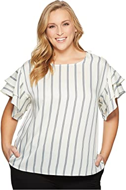 Plus Size Tiered Ruffle Sleeve Stripe Theory Blouse