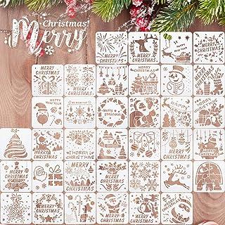 36 Pièces Modèle de Pochoirs de Peinture de Noël 5,1 Pouces Pochoir de Dessin de Modèles de Noël en Plastique Réutilisable...