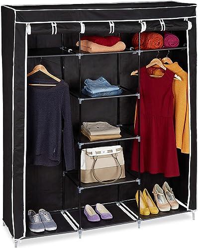 Relaxdays 10019122 Grande armoire pliante VALENTIN 9 compartiments Penderie Tringles étagères (H x l x P 173 x 148 x ...