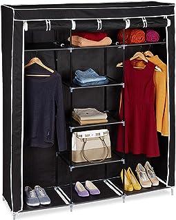 Relaxdays 10019122 Grande armoire pliante VALENTIN 9 compartiments Penderie Tringles étagères (H x l x P 173 x 148 x 42,5 ...