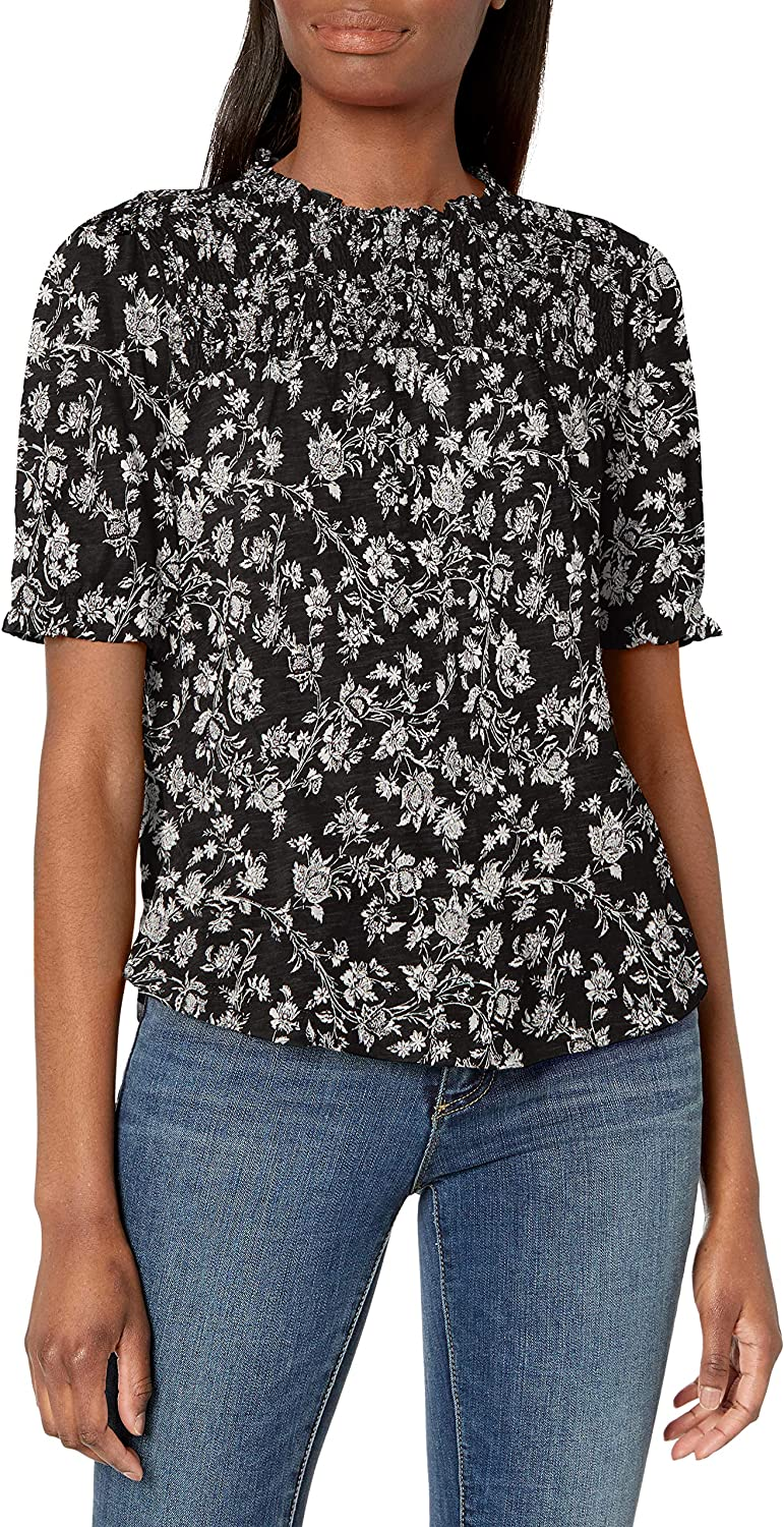Lucky Brand Womens Puff Sleeve Crew Neck Printed Top
