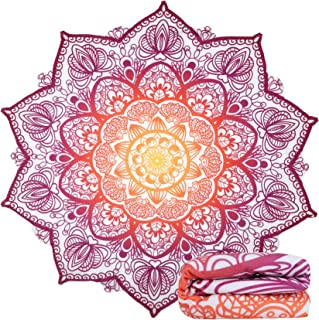 Feelingjoy Beach Towel Blanket Large Floral Mandala Lotus Flower Circle 60 inch Across Thick Water Absorbent Microfiber Picnic Yoga Mat