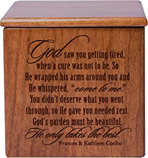 Cremation Urns for Human ashes - SMALL Funeral Urn Keepsake box for Pets - Memorial Gift for home or Columbarium Niche God saw you getting tired, when a cure was- Holds SMALL portion of ashes (Cherry)