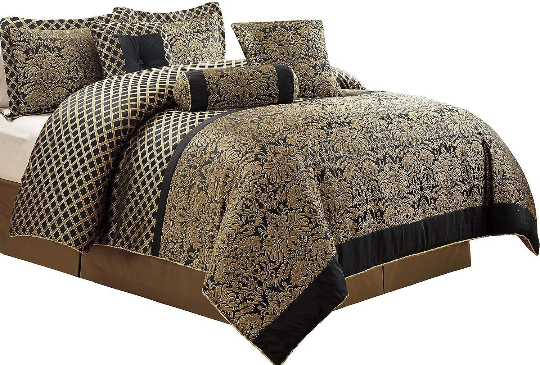Chezmoi Collection 7-Piece Lisbon Jacquard Floral Comforter Set, California King, Black gold