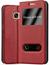 Cadorabo Book Case Works with Samsung Galaxy S7 in Saffron RED – with Magnetic Closure, 2 Viewing Windows and Stand Function – Wallet Etui Cover Pouch PU Leather Flip