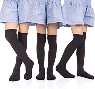HERHILLY 3 Pack School Uniform Classic Cable Cotton Over Knee-high Socks for Big Girls 3-12 Year old