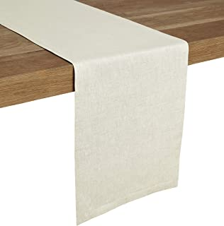 Solino Home Medium Weight Linen Table Runner - 100% Pure Linen - 14 x 120 Inch, Chambray Ivory