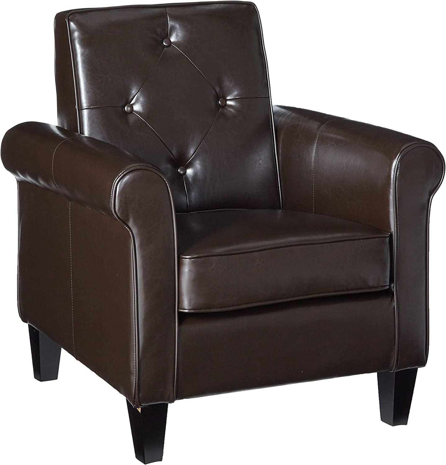 Christopher Knight Home 238657 CKH Isaac Tufted Brown Leather Club Chair, Chocolate