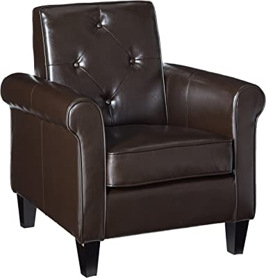Christopher Knight Home Isaac Tufted Leather Club Chair, Chocolate Brown