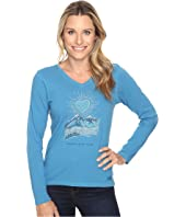 Life is Good - Radiant Good Vibes Heart Mountain Long Sleeve Crusher Vee