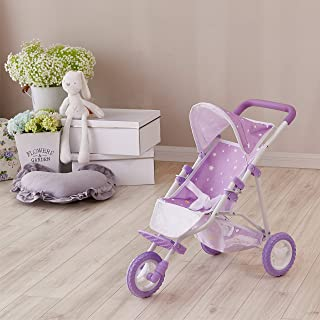 Olivia's Little World Twinkle Stars Princess Baby Doll Stroller, Purple/White