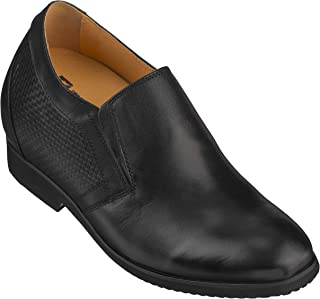 Men's Invisible Height Increasing Elevator Shoes - Black Premium Leather Slip-on Formal Loafers - 4 Inches Taller - X7127