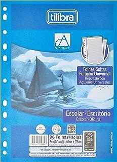 Refil Tiliflex para Caderno Argolado Universitário Folhas Soltas com Furação Universal, Tilibra, Académie, 96 Folhas
