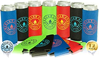 (12 Pack | Multi Colors) Neoprene Slim Can Koozie Sleeve Cooler for White Claw, 12 oz Tall Skinny Beer Cans & Bottles, Michelob Ultra, Red Bull, Spiked Seltzer, Truly- Not a Boring Blank Coozie Sleeve