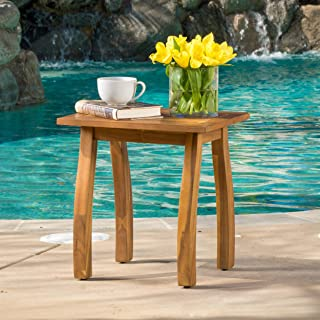 Sadie Outdoor Accent Side Table   Acacia Wood