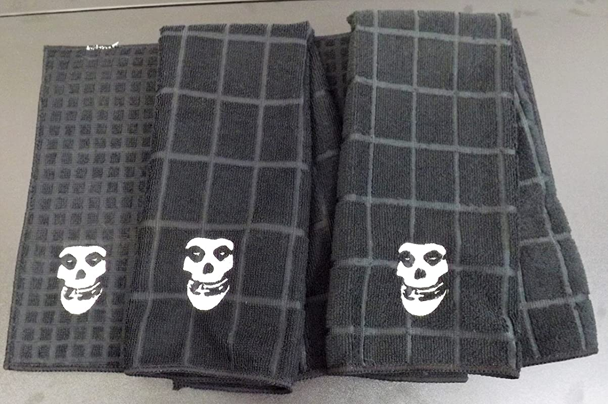 Embroidered Misfits Skull Kitchen Set Two Towels And A Drying Mat