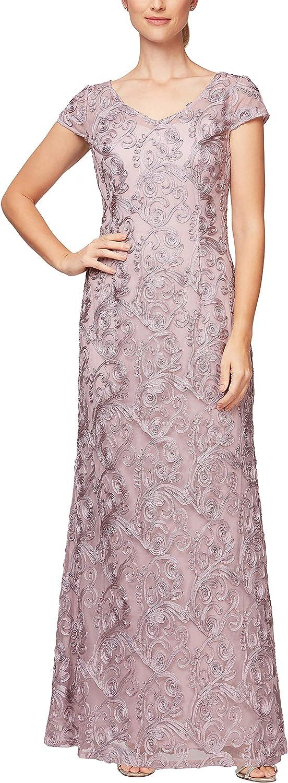 Alex Evenings Women's Long Cap Sleeve Dress