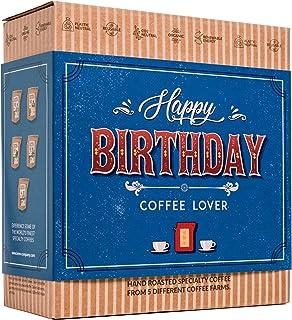 Caja de Cafe Gourmet Para Cumpleaños - Paquete de Degustación con 5 de Los Mejores Cafés Molidos Orgánicos Del Mundo | Par...