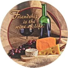 Thirstystone Stoneware Coaster Set, Friendship is The Wine of Life