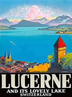 A SLICE IN TIME Lucerne Switzerland Europe European Vintage Travel Advertisement Art Poster Print. Measures 10 x 13.5 inches