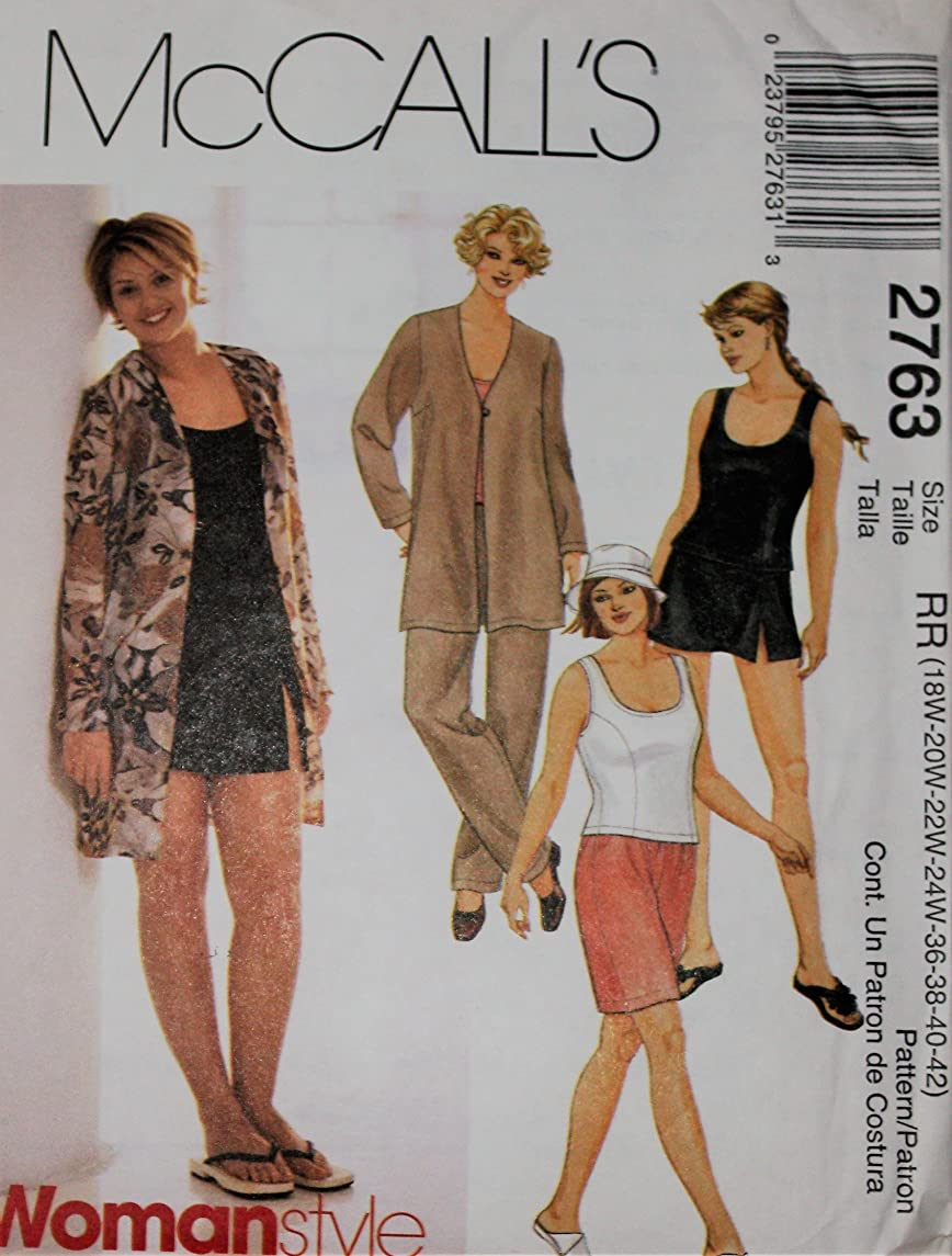 OOP McCalls SEWING PATTERN M 2763. Womens Plus szs 18W,20W,22W,24W Swimming Suit, Cover Up, Shorts & Top.NICE! Envelope has some wear. UNCUT, FF