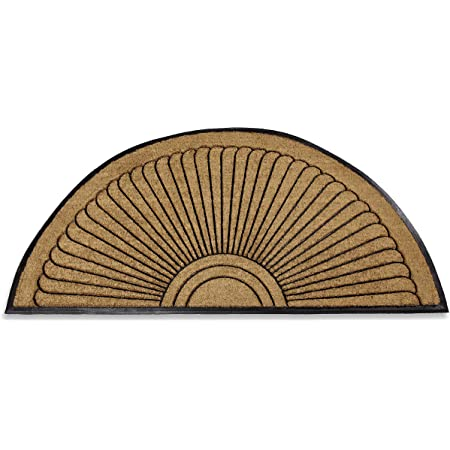 Kempf Half Round Inlaid Sun Ray Doormat, Outdoor, Entrance Mat, Extra Large Size, Great for Double Doors, Heavy Duty, 3 x 6-feet