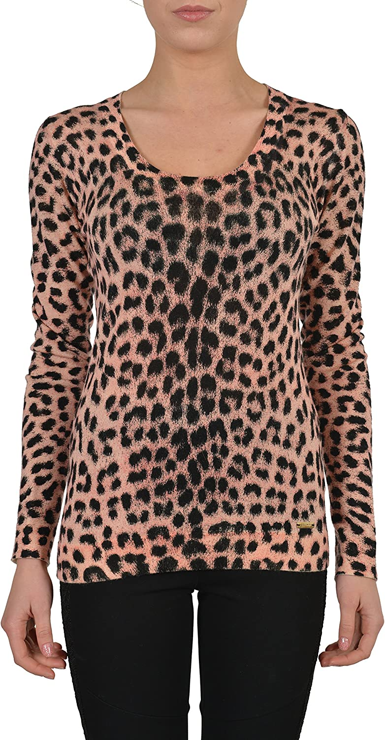 Just Cavalli Women's Multicolor Animal Print Knitted Scoop Neck Sweater US S IT 40