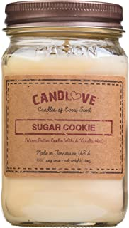 CANDLOVE Scented Candles 100% Soy Large Mason Jar Candle Made in The USA Scented (Sugar Cookie)