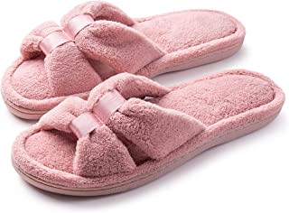 09809c56e0c Roxoni Womens Terry Slippers  A Cozy Open Toe Spa Thong Flip Flop Satin  Detail