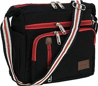 Storite Canvas Sling Cross Body Travel Office Business Messenger one Side Shoulder Bag for Men & Women- (27x10x27cm, Black)