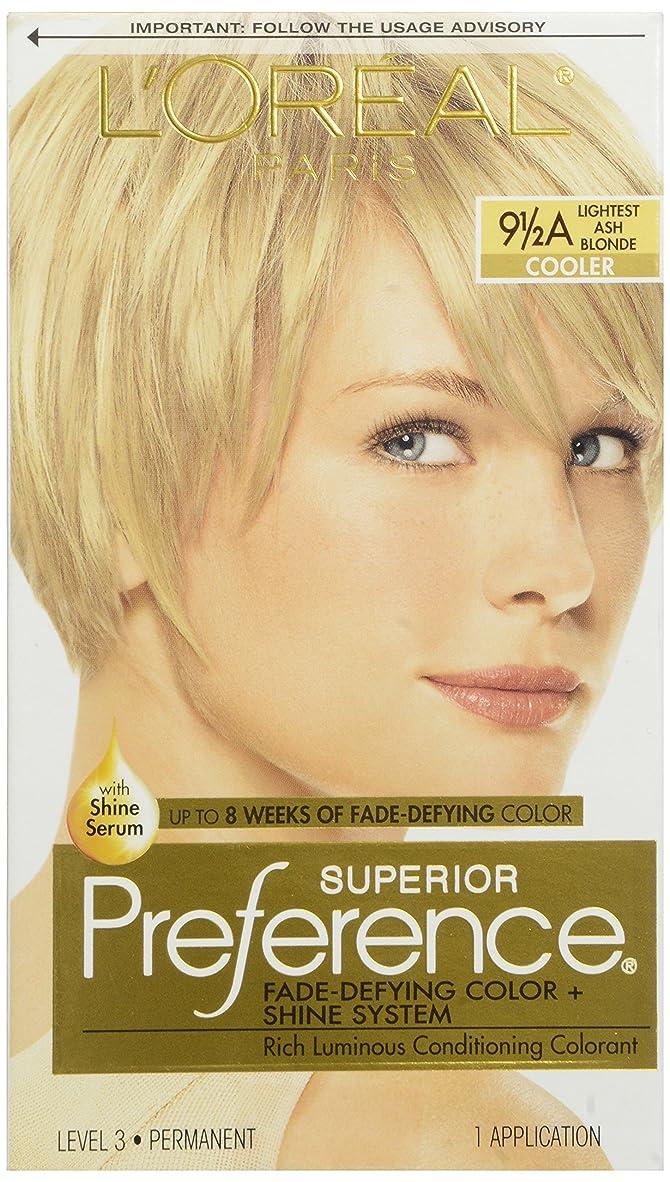 不健康元のガジュマルL'OREAL SUPERIOR PREFERENCE HAIR COLORANT #9 1/2A LIGHTEST ASH BLONDE COOLER