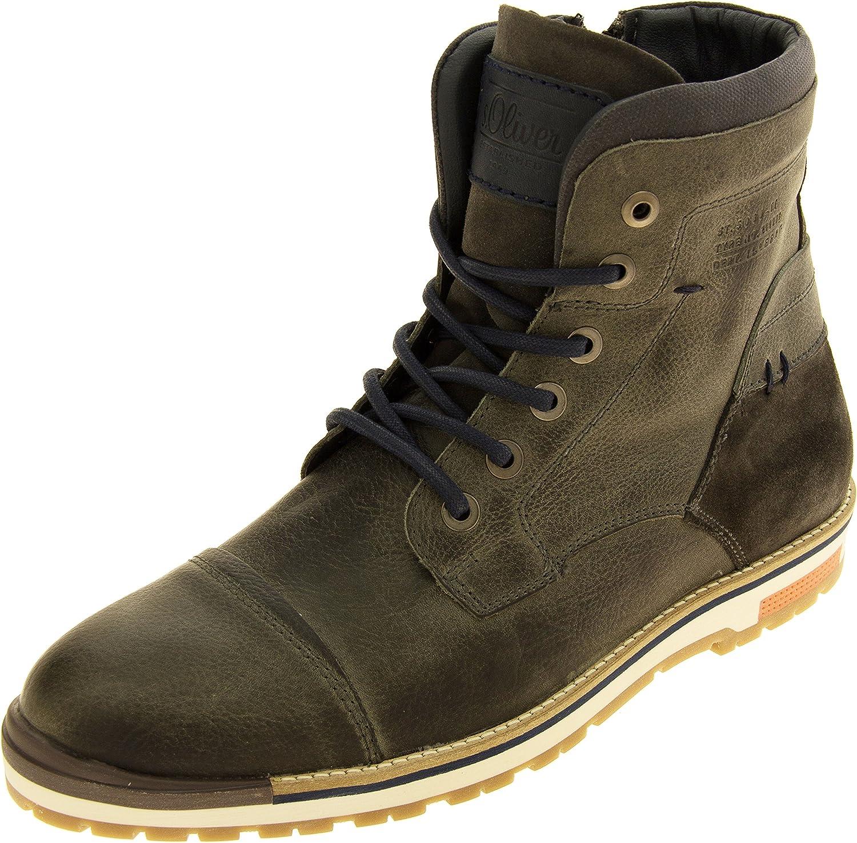 Mens S.Oliver Leather Hi Top Combat Boots