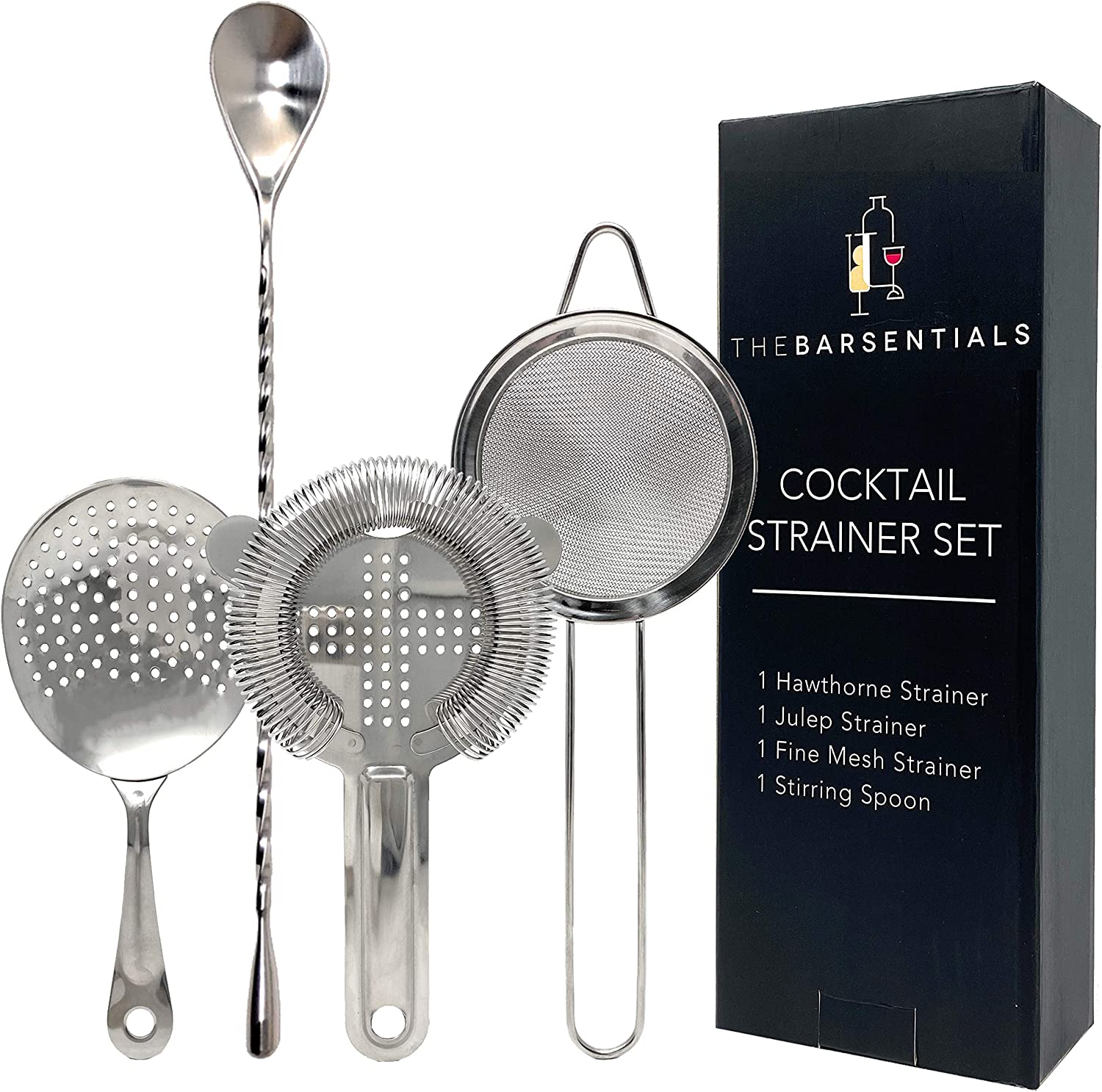 TheBarsentials Cocktail Strainer Set Stainless Houston Mall Max 62% OFF Steel wi Bar Tool