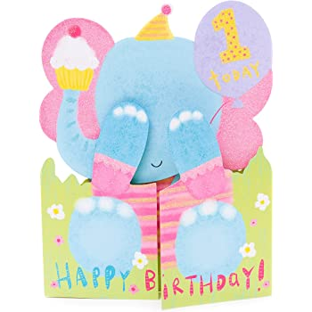 Carte De 1er Anniversaire Adorable Elephant Carte D Anniversaire Pour 1 An Carte Cadeau Pour Bebe Cadeaux D Anniversaire De 1 An Jouets De 1 An Amazon Fr Fournitures De Bureau