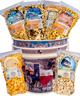 Popcorn by Colorado Kernels Popcorn Delights | 3.5 Gal CELEBRATE TEXAS THE LONE STAR STATE bucket, 6 resealable bags | Kettle Corn, Cheddar, Caramel, Chocolate, Almonds/Pecan, Buffalo Ranch