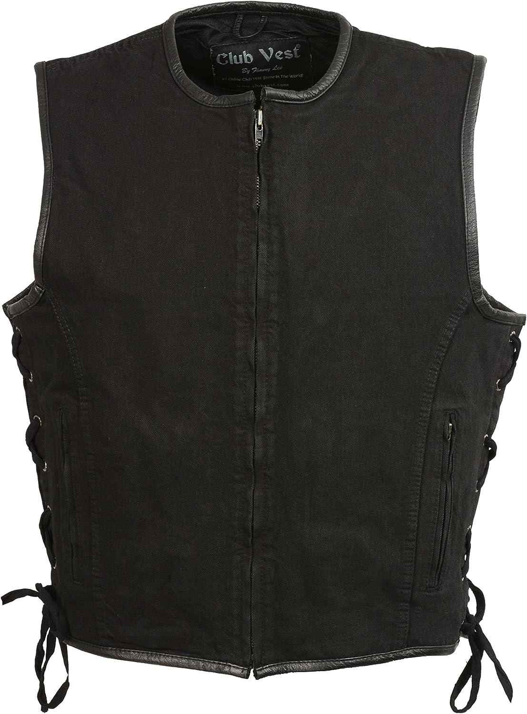 Club Vest MEN's Side Lace Snap/Zip Front(Black, 2X), 1 Pack