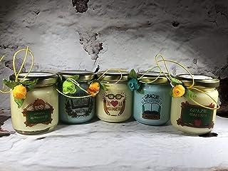 Grazie Maestra 5 vasetti con candele di cera di soia e oli essenziali - Regalo per la Maestra Fine anno scolastico Ritorno...