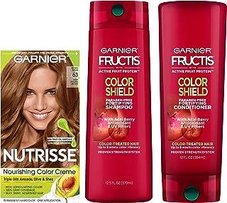 Garnier Nutrisse Hair Color & Fructis Color Shield Regimen Kit, 63 Light Golden Brown (Brown Sugar), 3 count